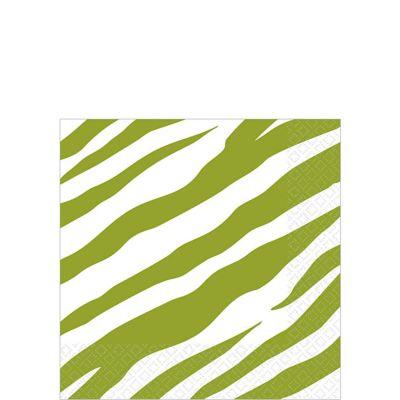 Avocado Zebra Print Beverage Napkins 16ct