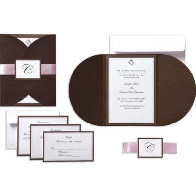 Brown & Pink Rhinestone Pocket Printable Wedding Invitations Kit 25ct