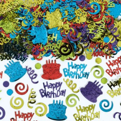 Primary Color Happy Birthday Confetti