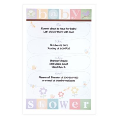 Baby Bugs Printable Baby Shower Invitations 12ct