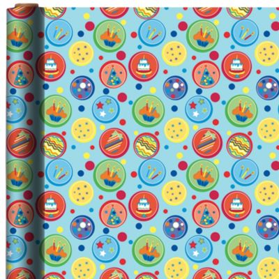 Blue Dots Birthday Gift Wrap