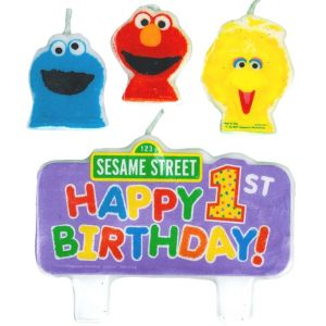 Sesame Street 1st Birthday Candles 4ct
