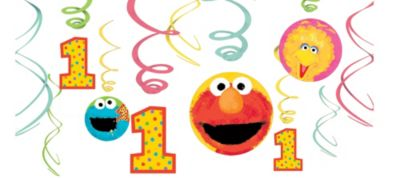 1st Birthday Sesame Street Swirl Decorations 12ct