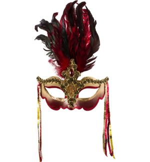 Luxe Red Feather Masquerade Mask Deluxe