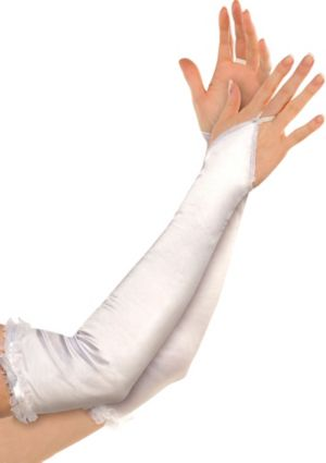 Satin White Arm Warmers