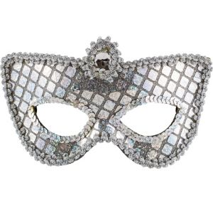 Grand Silver Sequin Mask