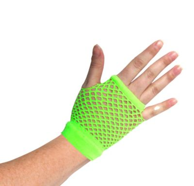 Short Neon Green Fishnet Glove