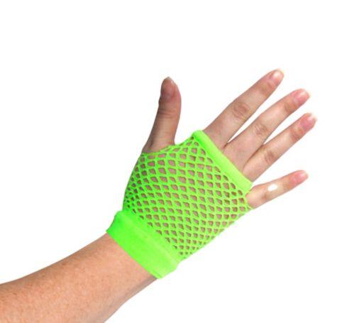 Green Fishnet Gloves Short Neon Green Fishnet Glove