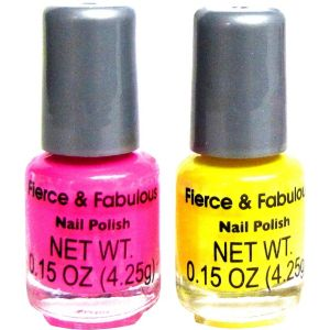 Neon Pink And Yellow Nail Polish