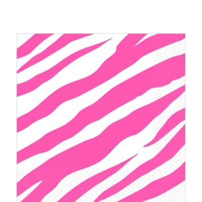 Bright Pink Zebra Print Lunch Napkins 16ct