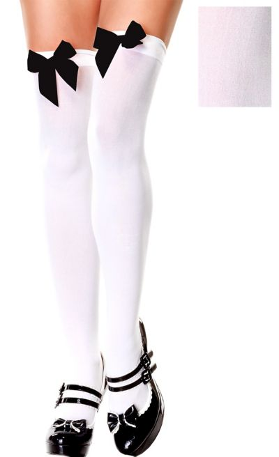 Adult White Thigh High Stockings with Black Bows