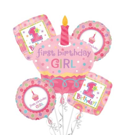 1st Birthday Balloon Bouquet 5pc - Sweet Little Cupcake Girl