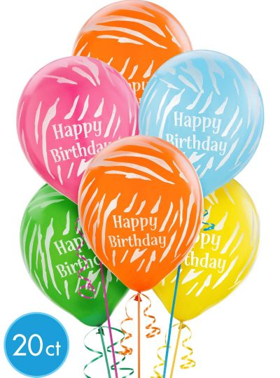 Zebra Birthday Balloons 20ct - Bright