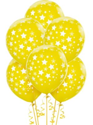 Yellow Star Balloons 6ct