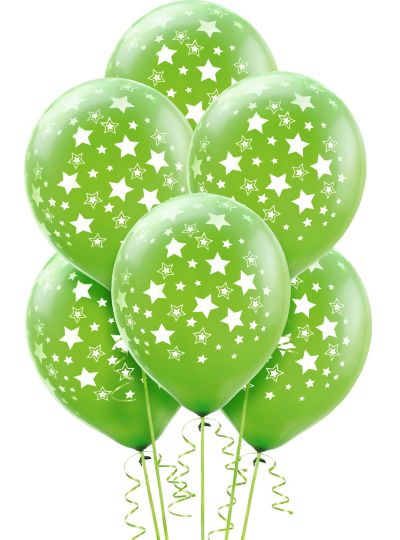 Kiwi Green Star Balloons 6ct