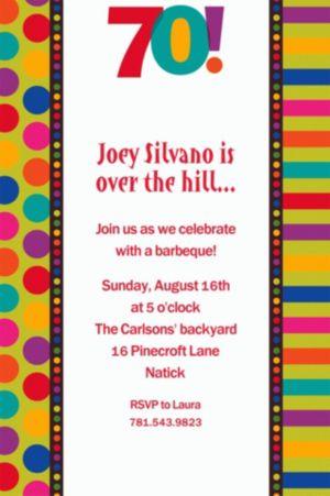 Custom Birthday Dots & Stripes 70th Invitations