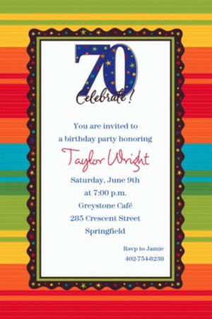Custom A Year to Celebrate 70th Invitations