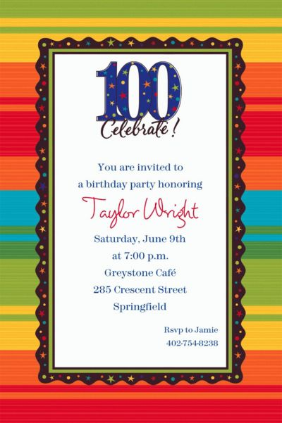 A Year to Celebrate 100 Custom Invitation