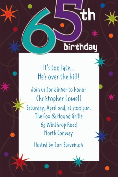 Custom The Party Continues 65th Invitations