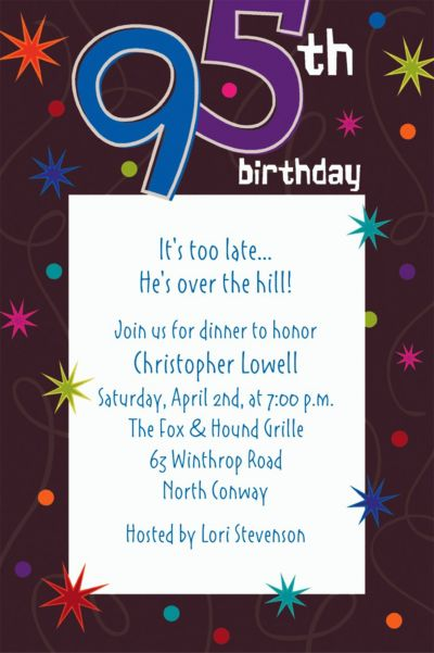 Custom The Party Continues 95th Invitations