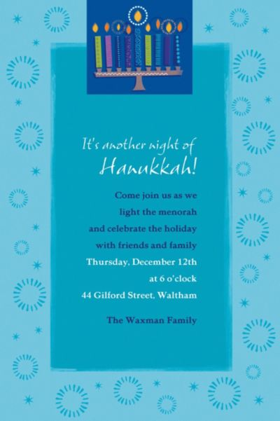 Hanukkah Wishes Custom Invitation
