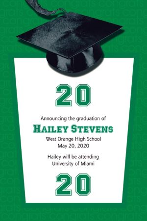 Custom Green Congrats Grad Announcements