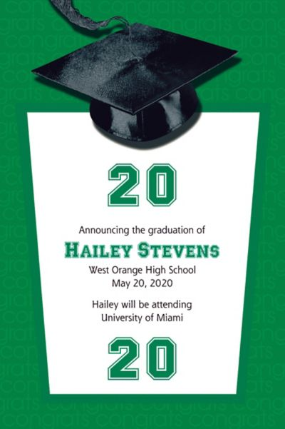Green Congrats Grad Custom Graduation Announcement