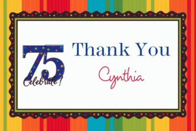 Custom A Year to Celebrate 75th Thank You Notes