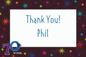 Custom The Party Continues 70th Thank You Notes