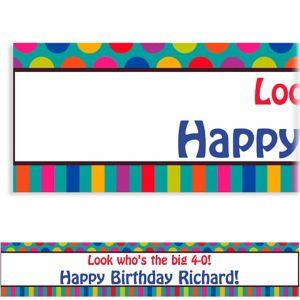 Custom Birthday Dots & Stripes Banner 6ft