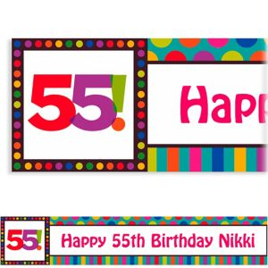 Custom Birthday Dots & Stripes 55th Banner 6ft