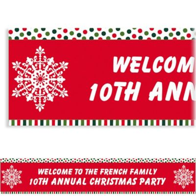 Holiday Dots & Stripes Custom Christmas Banner