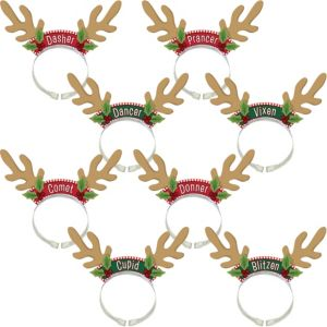 Santa's Reindeer Antlers Headbands 8ct