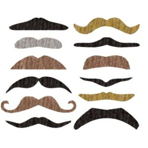 Assorted Fake Moustaches 12ct