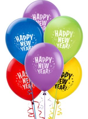 Primary Color Happy New Year Balloons 15ct