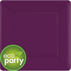 Eco Friendly Plum Square Paper Dinner Plates 20ct