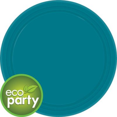 Eco Friendly Peacock Blue Round Paper Lunch Plates 9in 24ct