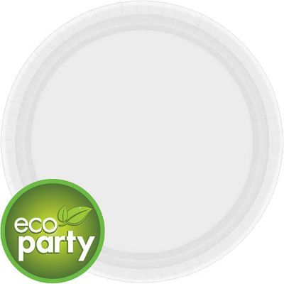 Eco Friendly White Paper Lunch Plates 24ct