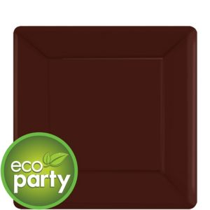 Eco Friendly Chocolate Brown Paper Square Dessert Plates 20ct