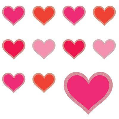 Glitter Heart Cutouts 50ct