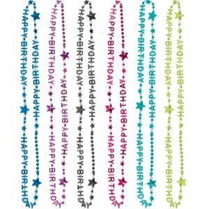 Bright Happy Birthday Bead Necklaces 6ct