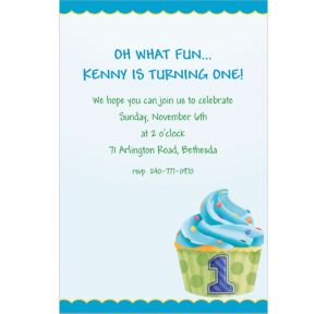 Custom 1st Birthday Blue Invitations