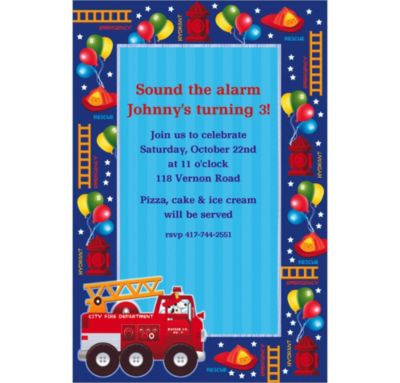 Custom Fire Engine Fun Invitations
