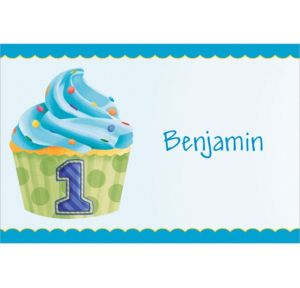 Custom 1st Birthday Blue Thank You Notes