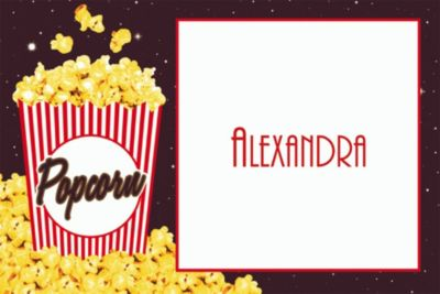 Custom Movie Night Popcorn Thank You Notes