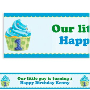 Custom 1st Birthday Blue Banner 6ft