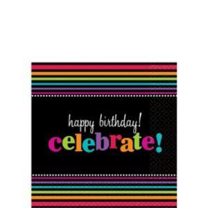 Happy Birthday Beverage Napkins 16ct - Rainbow Stripes