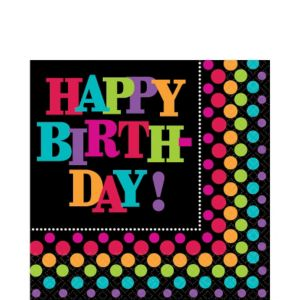 Happy Birthday Lunch Napkins 16ct - Rainbow Dot