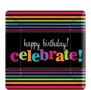 Happy Birthday Dessert Plates 8ct - Rainbow Stripes