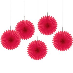 Red Mini Fan Decorations 5ct
